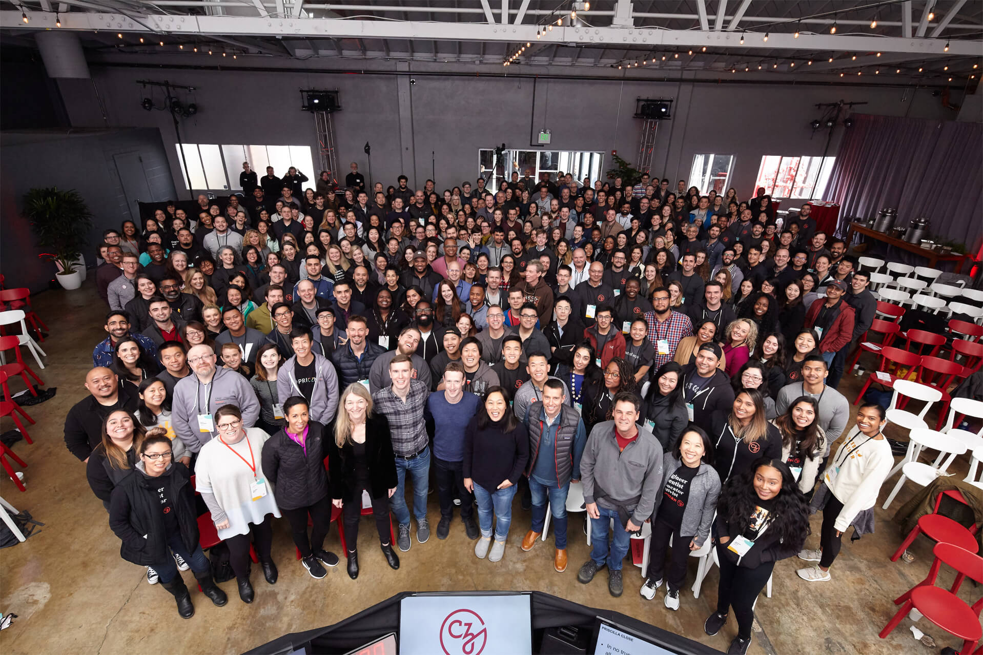 A group photo of the Chan Zuckerberg Initiative employees with Priscilla Chan and Mark Zuckerberg