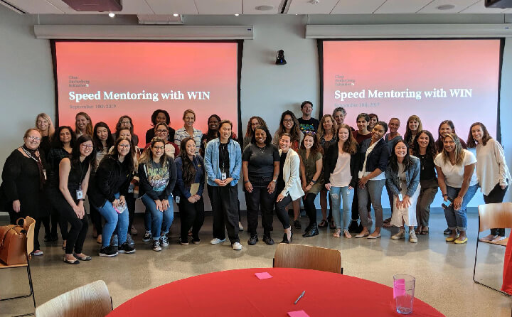 A group photo of female engineers and employees who work at the Chan Zuckerberg Initiative
