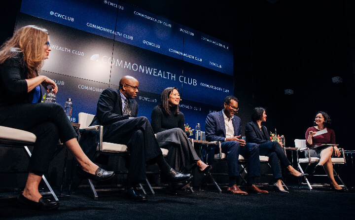 Priscilla Chan sits on stage with Bay Area leaders at the Commonwealth Club