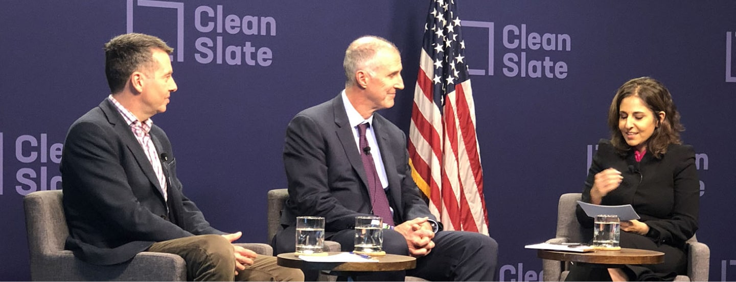 November 15, 2018 | David Plouffe, Head of Policy & Advocacy at CZI (left) Mark Holden, General Counsel and Senior Vice President of Koch Industries (center) and Neera Tanden, President and CEO of the Center for American Progress (right) discuss Clean Slate policies at a bipartisan convening in Washington D.C