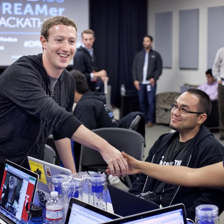Mark Zuckerberg, CZI and FWD.us Co-Founder, and the late Celso Mireles, Co-Founder of the AZ Dream Act Coalition and a passionate immigration reform advocate, at a FWD.us hackathon to build tools and apps that support dreamers. Photo courtesy of FWD.us.