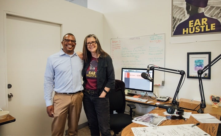 August 21, 2018 | Aly Tamboura, Justice & Opportunity, with Nigel Poor, a co-host of the podcast Ear Hustle, at San Quentin Prison.