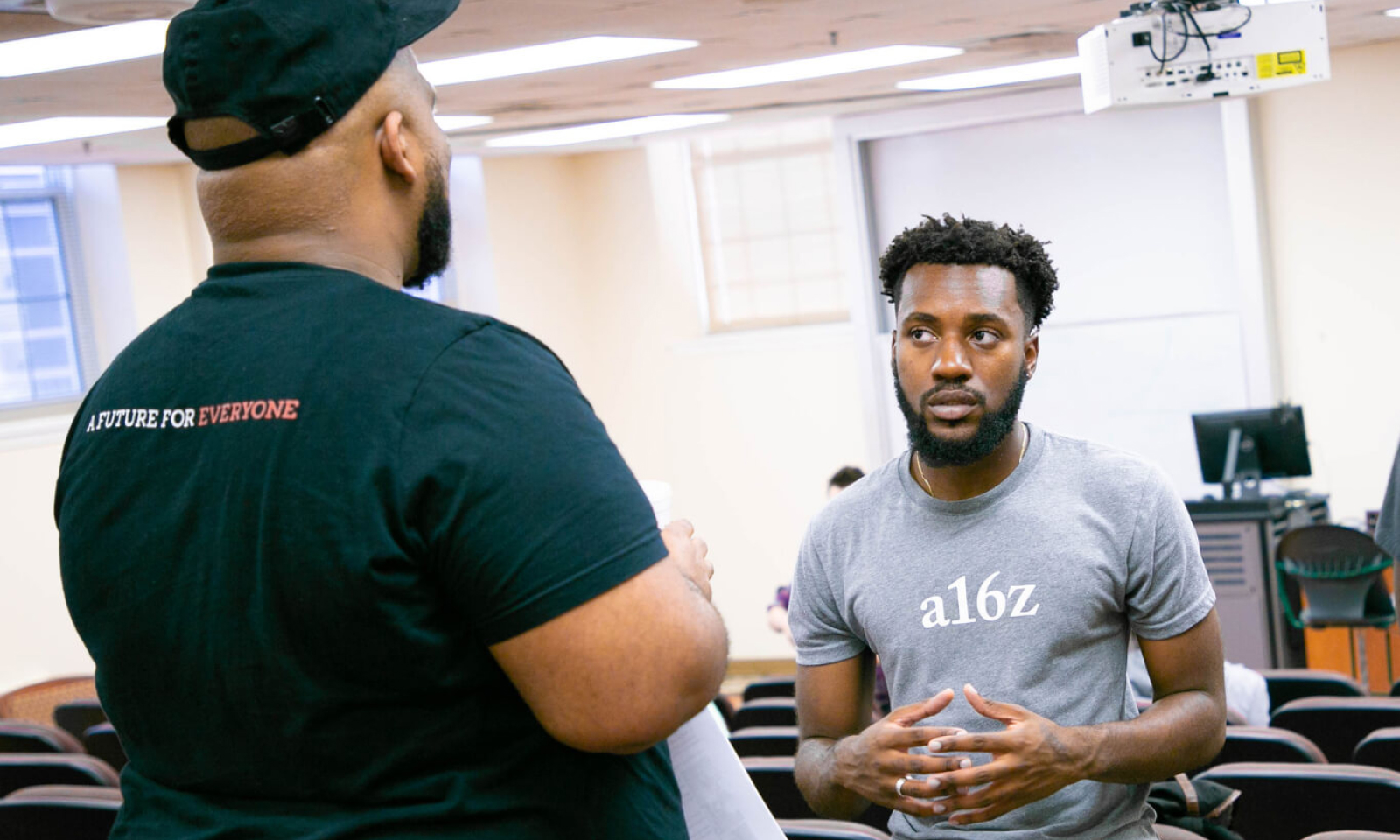 Maurice Wilkins, Diversity, Equity, and Inclusion Manager is discussing careers in Silicon Valley, with Nashawn Chery, a student at Morehouse College.