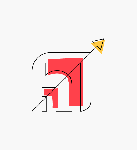 """Stylized """"Enable Our Operations to Scale"""" icon resembling buildings or doorways increasing in scale, with a diagonal arrow indicating growth."""