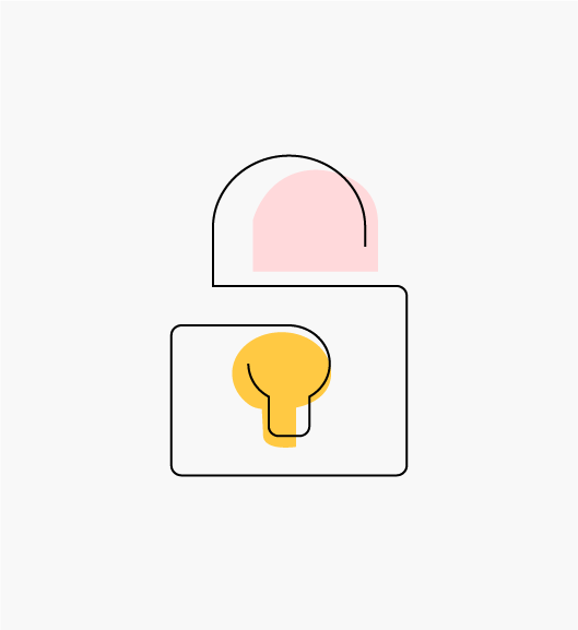 """Stylized pink and yellow """"Security is Paramount"""" icon of a padlock (Infrastructure Teams)."""