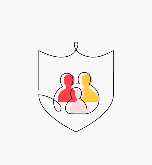 """Stylized """"Investing in privacy and security"""" icon of a shield with two adults and a child in the middle (Education Privacy Principles)."""