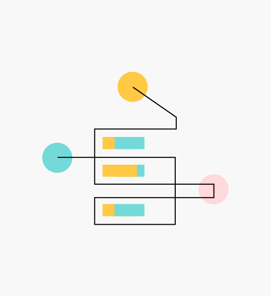 """Stylized """"Open Source"""" icon of a circuit with three horizontal blue and yellow bars, and three yellow, blue and pink dots (Infrastructure Systems)."""