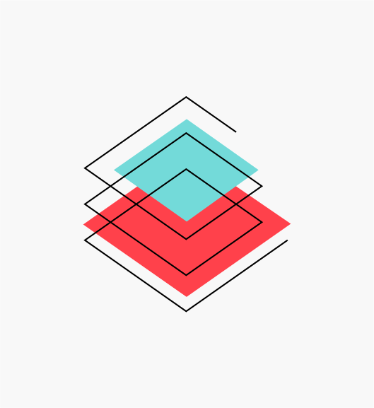 """Stylized """"Use Our Stack"""" icon of three ascending red and blue rhombuses (Shared Infrastructure Engineering)."""