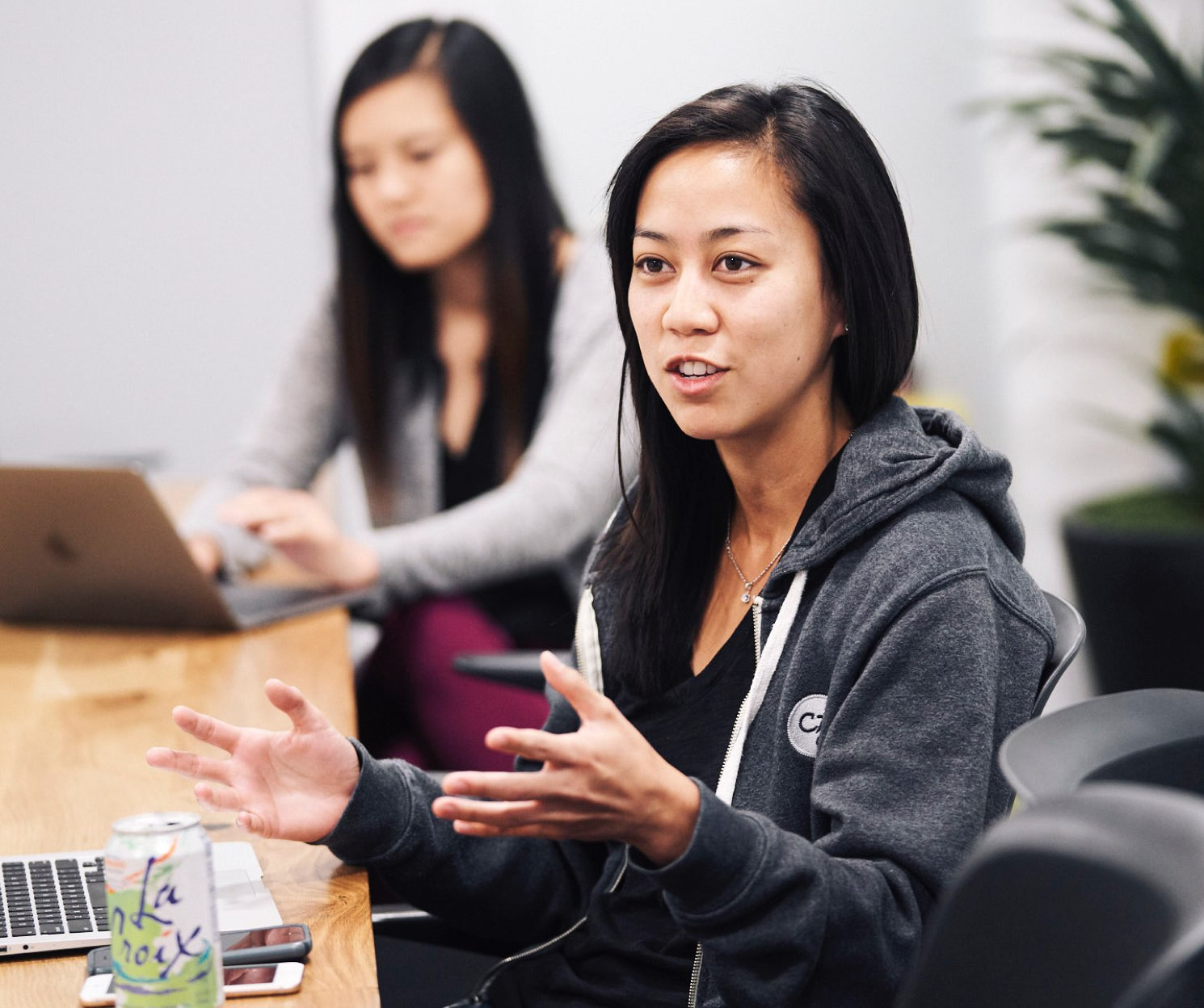 September 21, 2018 | Stephanie Nguyen, Recruitment, Jennifer Tang, Product Design, in a meeting at CZI about the upcoming Grace Hopper Celebration of Women in Computing Conference. Photograph by An Rong Xu