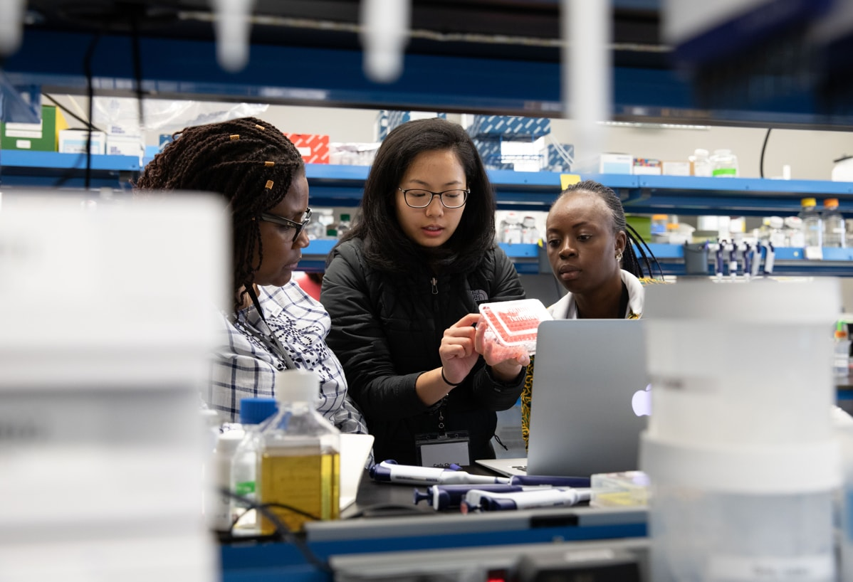 Carly Cheung, scientist in the Protein Sciences group, shows Sandra Chipuka and Ernestine Dada Johnson, Emerging Leaders from the TechWomen program, tools used in the BSL-1 lab at the CZ Biohub in San Francisco.