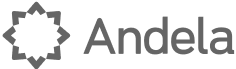 Andela logo, in gray with a stylized sun inside of an eight-pointed star icon at left (CZI venture investments portfolio).