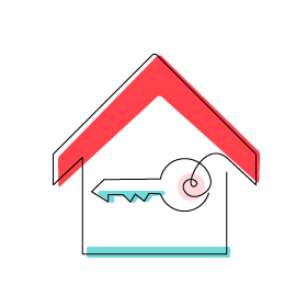 """Stylized """"Enabling Equitable Access"""" icon of a house containing a large key (CZI Housing Affordability)."""