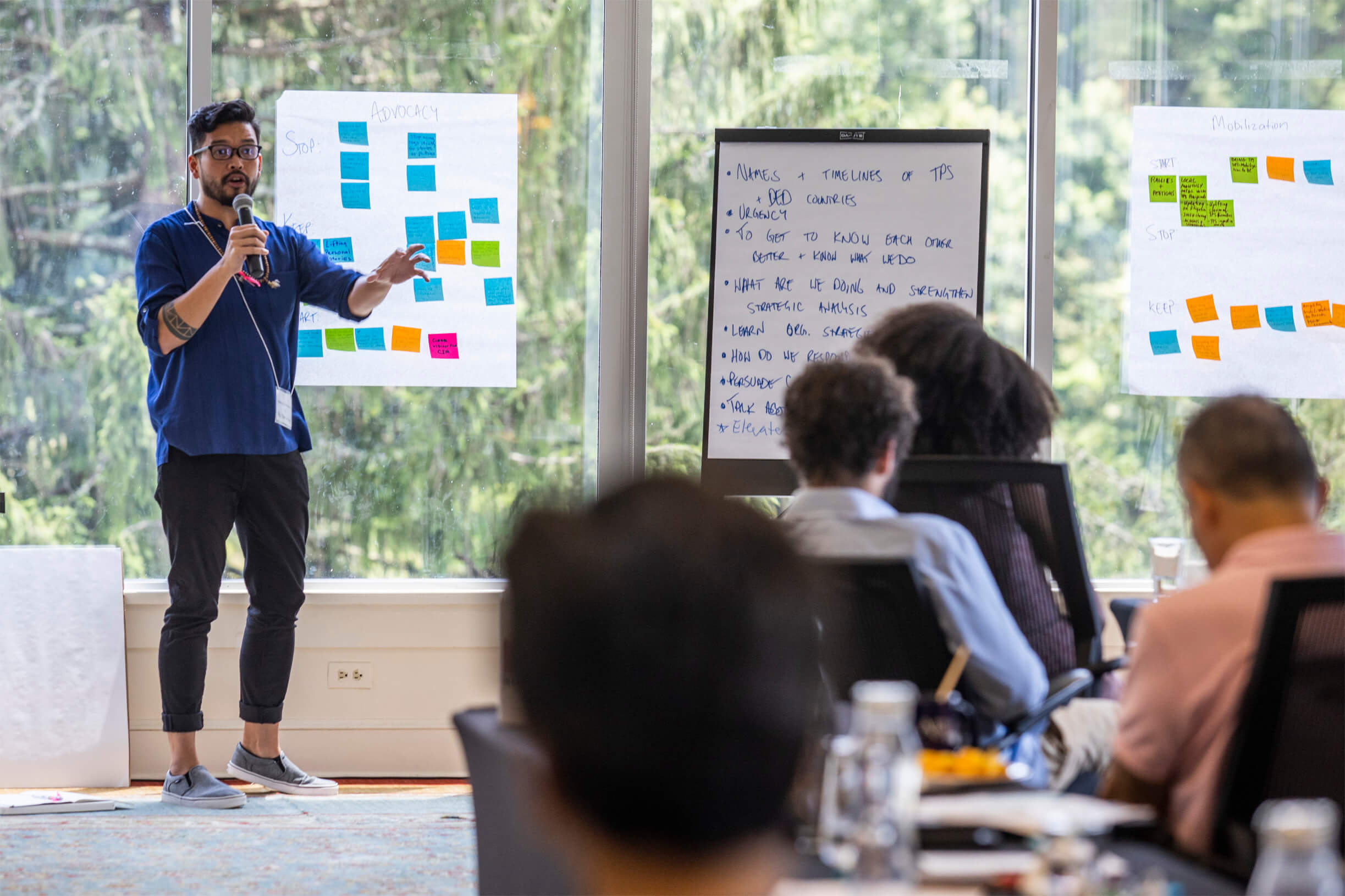 Kalaya'an Mendoza, a movement capacity building trainer, presenting strategies to help key movement leaders that are working on immigration policy at a training conference in Virginia.