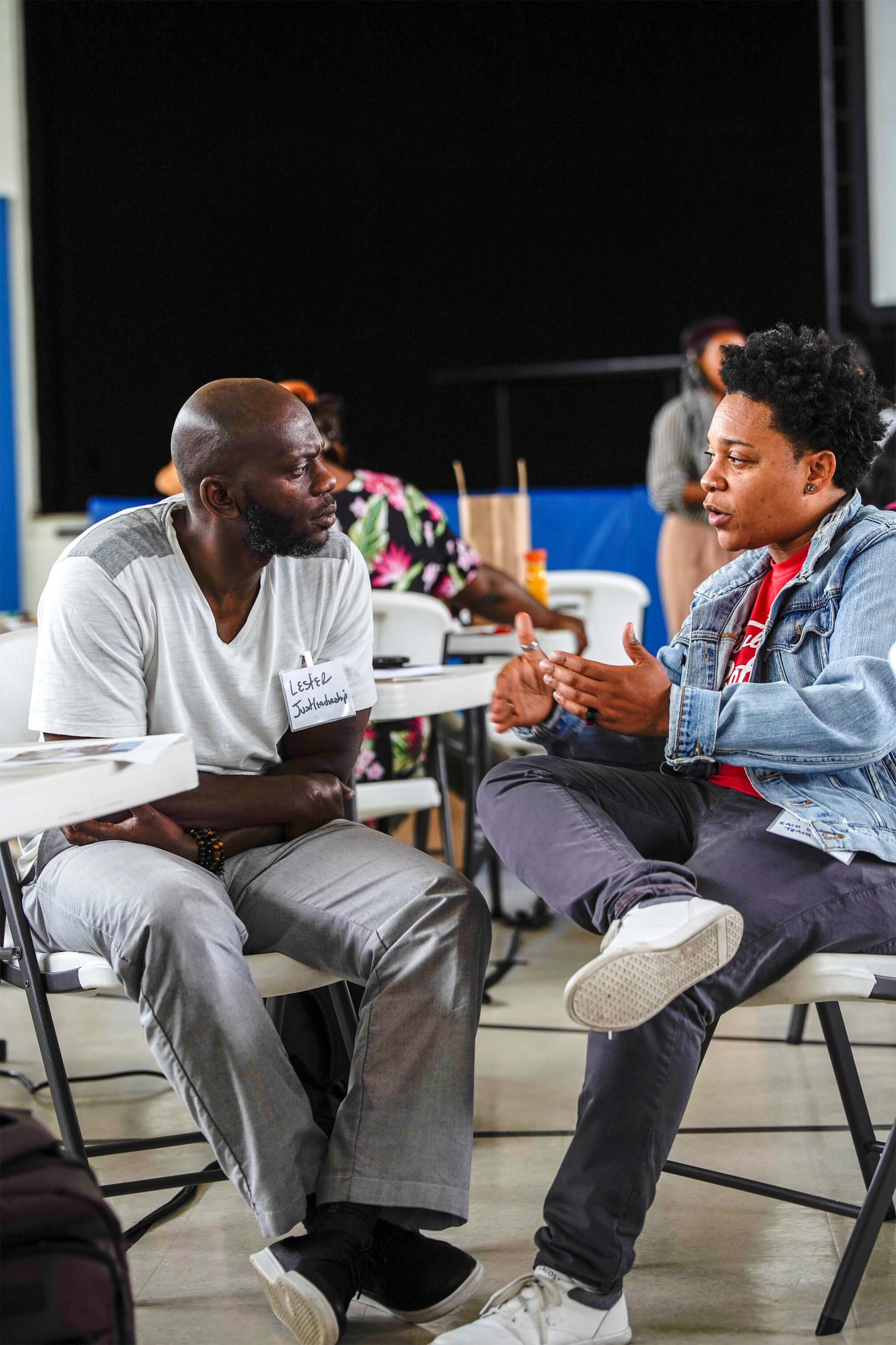 Lester Young of JustLeadershipUSA and Keturah Herron of Each One Teach One Reentry Fellowship, formerly incarcerated leaders in the criminal justice reform movement, discussing strategy during a breakout session at a technology skill-building training in New Orleans.
