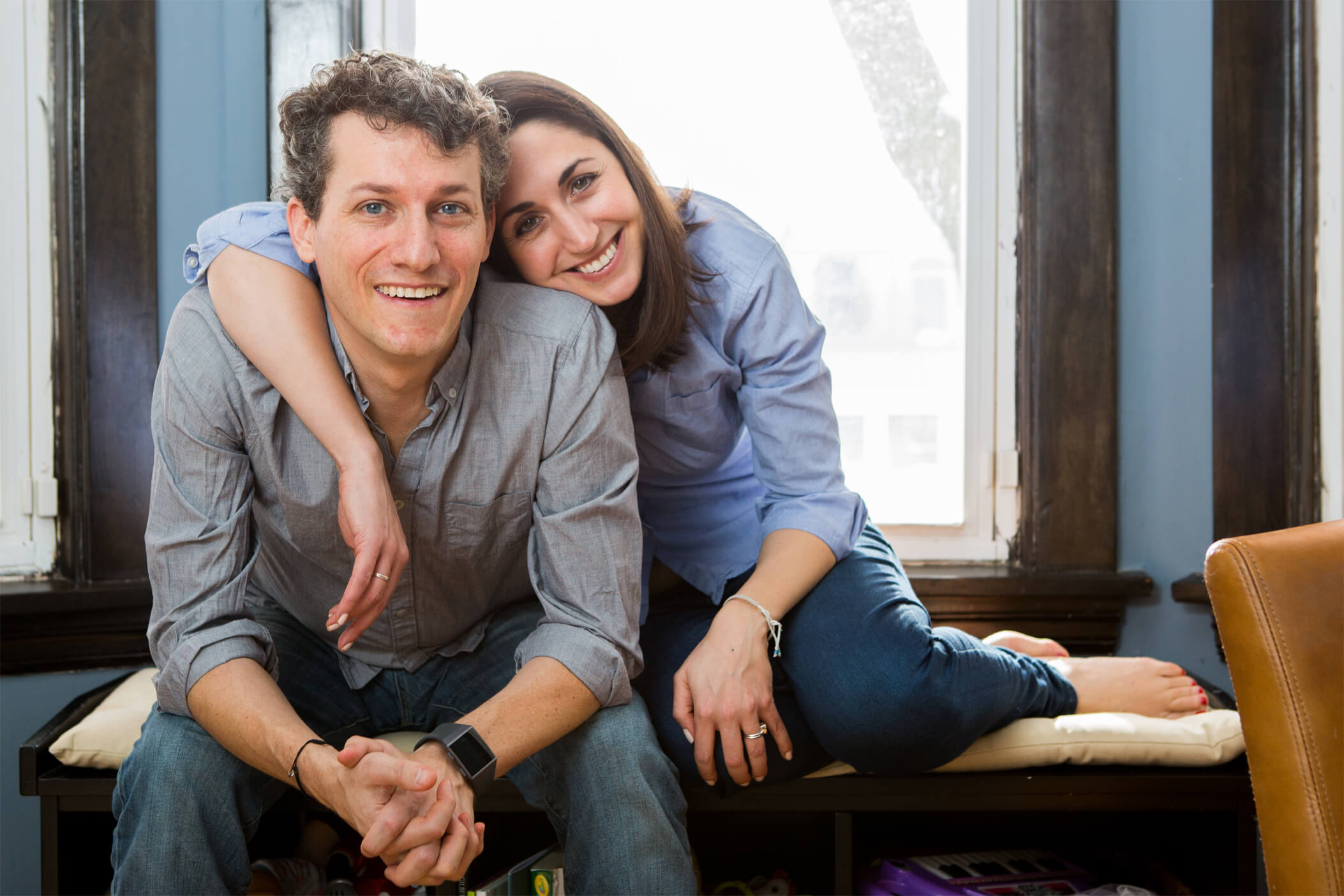 Portrait of Brian Wallach (left) and Sandra Abrevaya (right), the co-founders of I AM ALS