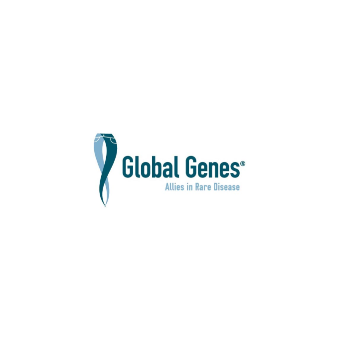 Global Genes logo with vertical DNA helix at left, resembling a pair of jeans with legs intertwined, blue on white background.