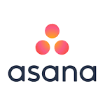 Asana logo, in black text with three red and orange dots on top (CZI Grant Partner Training Sessions).