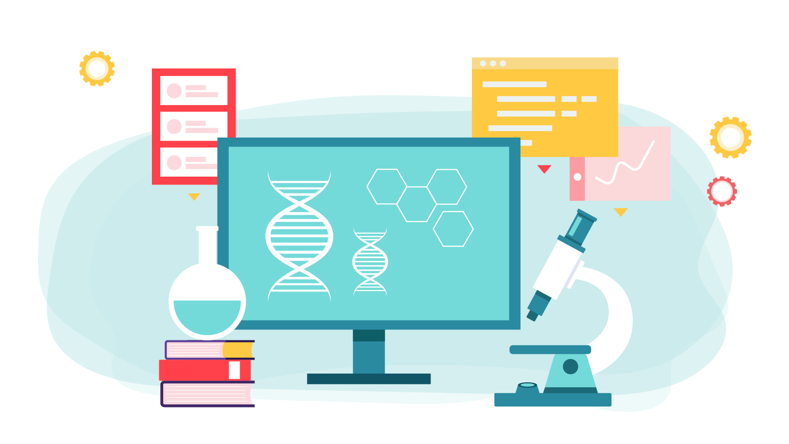 Graphic on a blue background featuring an image of a microscope, computer, books and DNA strain.