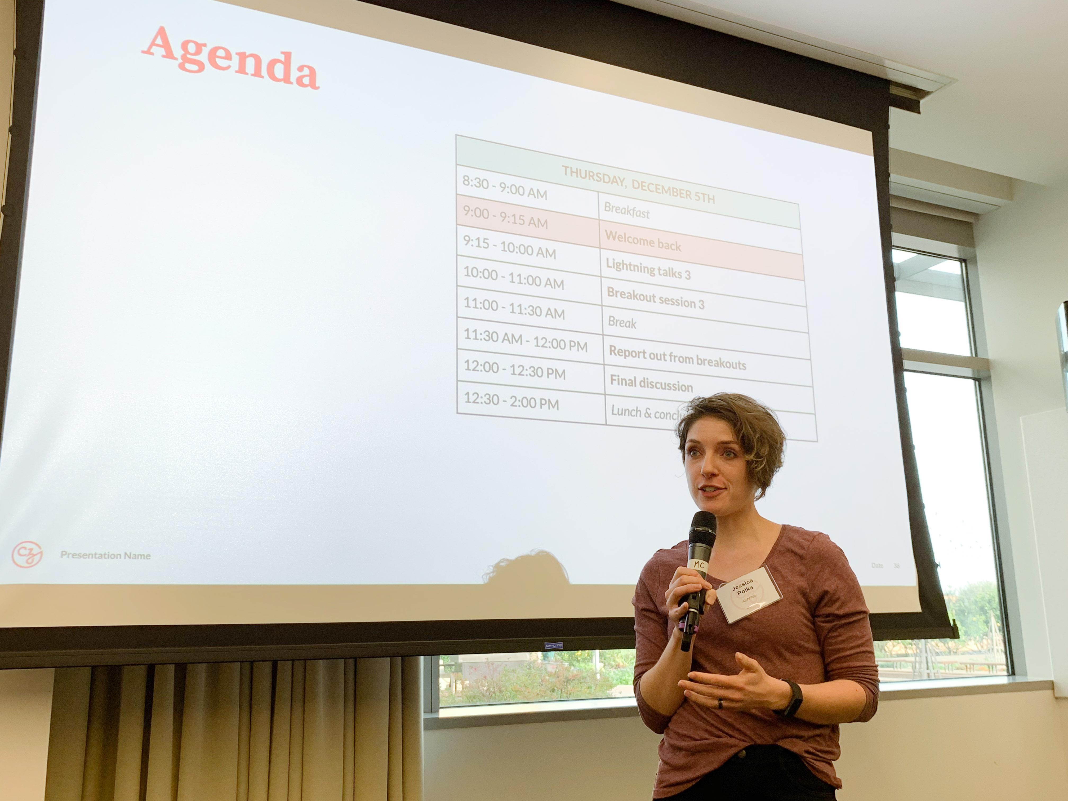Jessica Polka, Executive Director of ASAPbio, at the CZI Preprints I/O workshop (CZI Open Science).