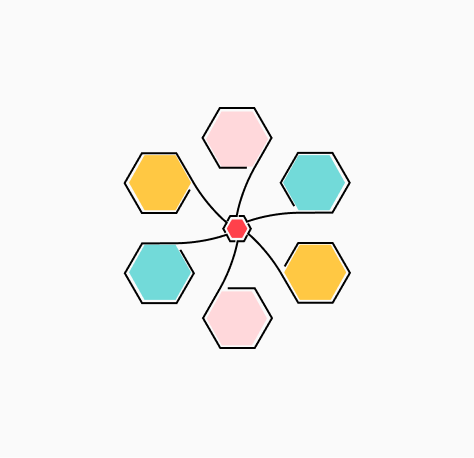 """Stylized """"Learn about our COVID-19 Response Efforts"""" icon of a wheel with six spokes terminating in multi-color hexagons (CZI Candidate Resources)."""