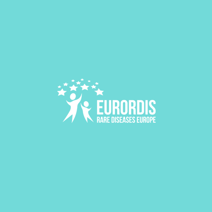 EURORDIS-Rare Diseases Europe logo with two people reaching upwards to a field of stars, white on cyan background.