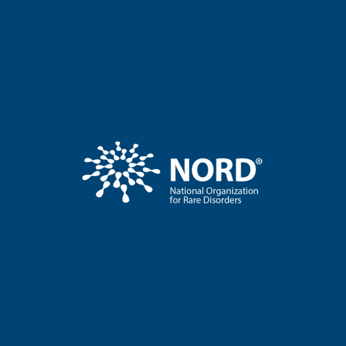 National Organization for Rare Disorders (NORD) logo with 10-pronged molecular icon at left, white on dark blue background.