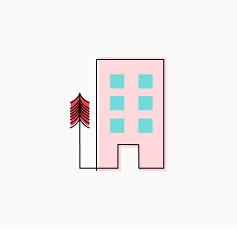 """Stylized """"Office Tour"""" icon of pink building with blue windows, and a redwood tree at left (CZI Candidate Resources)."""