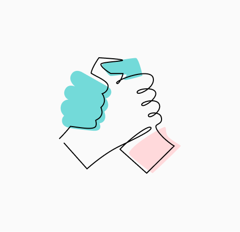 """Stylized """"Our Culture"""" icon of two hands clasped together (CZI Candidate Resources)."""