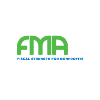 """Fiscal Strength for Nonprofits logo, with green and blue text and the letters """"FMA """" on top (CZI Grant Partner Training Sessions)."""