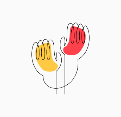 """Stylized """"Why CZI?"""" icon of two raised hands, one orange and one red (CZI Candidate Resources)."""
