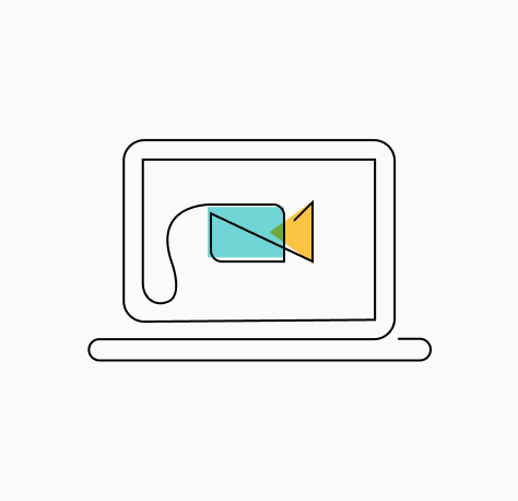 """Stylized """"Tips to Prepare for your Zoom Interview"""" icon of a laptop computer displaying a video camera on its screen (CZI Candidate Resources)."""