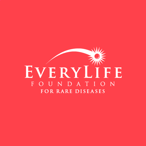 EveryLife Foundation for Rare Diseases logo with a shooting star arching above, white on red background.