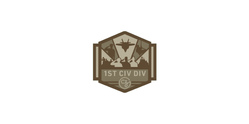1st Civilian Division, Veteran Inclusion Community logo, with soldiers saluting and jet plane above - CZI Employee Resource Groups (ERGs).