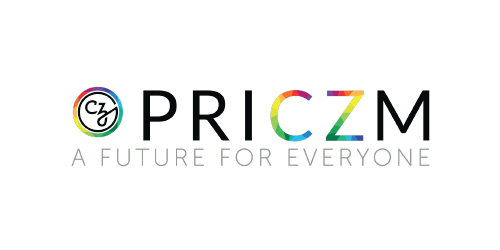 """PRICZM LGBTQI+ logo, with the letters """"CZ"""" and circular CZ logo at left in rainbow colors - CZI Employee Resource Groups (ERGs)."""