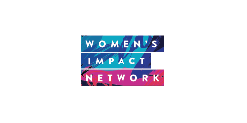 WIN Women's Impact Network logo, with variegated blue and red bars behind three lines of white text - CZI Employee Resource Groups (ERGs).