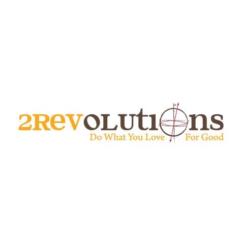 """2Revolutions logo, with the outline of a sphere and its offset vertical axis as the second letter """"O"""" (CZI Education Resource Library)."""