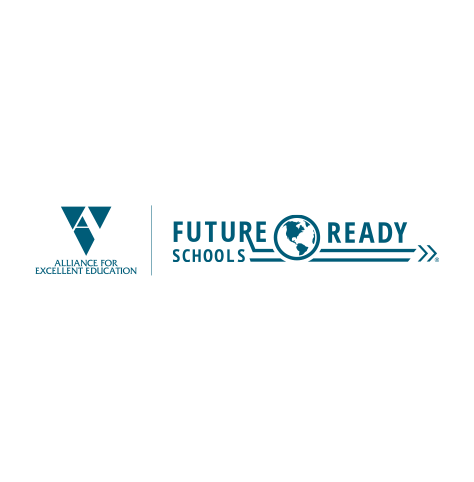 """The Alliance for Excellent Education (All4ED) logo, with teal text, a letter """"A"""" icon at left, and """"Future Ready Schools"""" with planet earth icon at right (CZI Education Resource Library)."""
