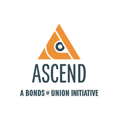 ASCEND - A Bonds of Union Initiative logo, in dark blue text with a triangular orange and blue icon at the top (CZI Education Resource Library).