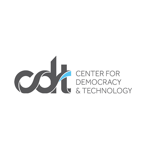 """The Center for Democracy & Technology logo, with dark gray text and a gray and blue """"cdt"""" icon at left (CZI Education Resource Library)."""