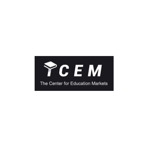 """Center for Education Markets (TCEM) logo, with white text on a black background, and a small textbook icon atop the letter """"T"""" (CZI Education Resource Library)."""