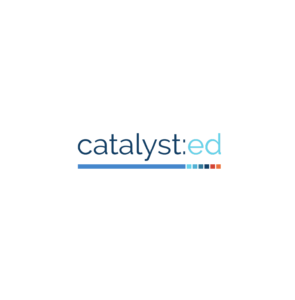 Catalyst:ed logo, in several shades of blue, with a blue underline terminating in multi-colored dots at the right (CZI Education Resource Library).