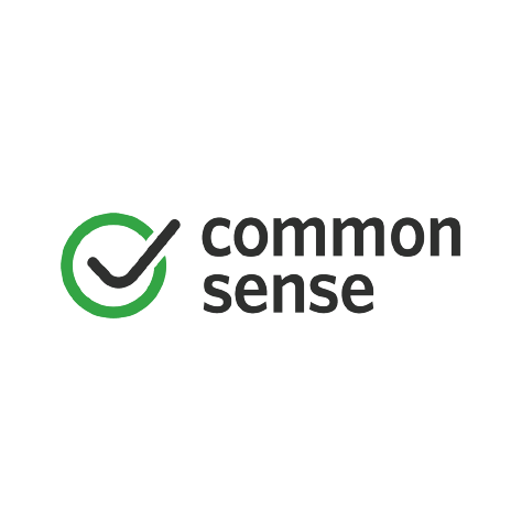 Common Sense Media logo, with black text and a check mark inside of a green circle icon at left (CZI Education Resource Library).