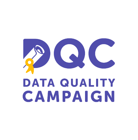 """The Data Quality Campaign (DQC) logo, in blue magenta text with """"DQC"""" at the top, and a scroll and gold ribbon icon inside the letter """"D"""" (CZI Education Resource Library)."""