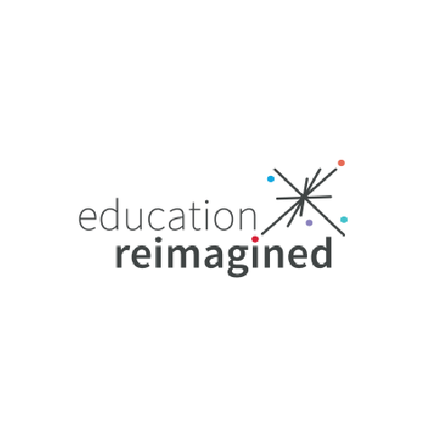 Education Reimagined logo, with black text and a star icon of five intersecting lines and multi-color dots at right (CZI Education Resource Library).