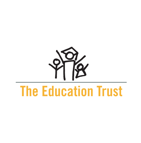 The Education Trust logo, in black and yellow text, with three cheering stick-figures, one of whom is wearing a mortarboard, on top (CZI Education Resource Library).