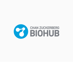 Chan Zuckerberg Biohub logo, with blue circle containing a white molecule icon at left.