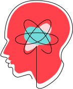 """Stylized """"Supporting Talented and Motivated People"""" icon of a human head in profile, with atomic symbol in center."""