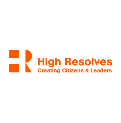 """High Resolves logo, in orange text with the phrase """"Creating Citizens & Leaders"""" below, and a stylized """"HR"""" icon at left (CZI Education Resource Library)."""