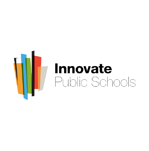Innovate Public Schools logo, in black text with a stylized, multi-colored row of books at left (CZI Education Resource Library).