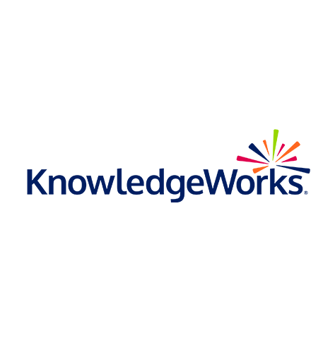 Knowledge Works logo, with dark blue text and a multi-color icon of radiating lines at top right (CZI Education Resource Library).